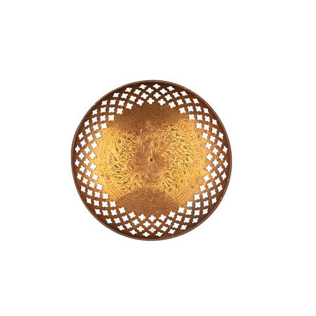 Round copper plate with handles isolated top view Фото со стока