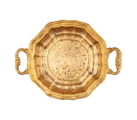 Empty brass tray with handles top view isolated