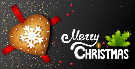 Horizontal postcard on a black background with in the shape of a heart christmas cookies and hand-written lettering merry christmas text