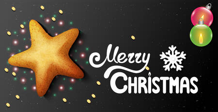 Horizontal postcard on a black background with star shaped christmas cookies and hand-written lettering merry christmas text
