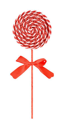Christmas decoration in the form of round spiral lollipop with a red bow isolated 写真素材