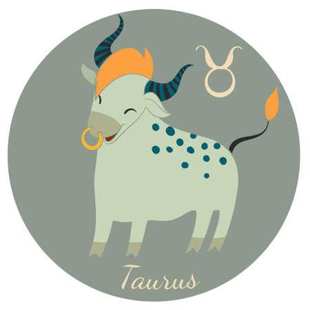funny ox: Cute Taurus zodiac sign of Horoscope. Vector Illustration.