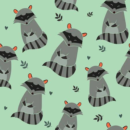 Raccoon Seamless pattern on blue background. Illustration