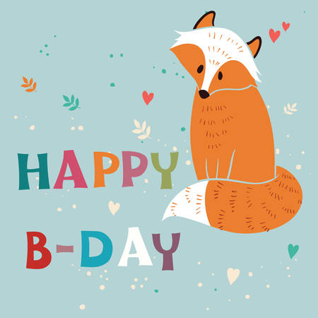 foxy: Happy Birthday card with foxy