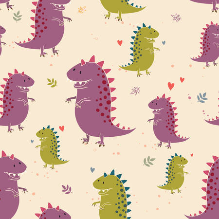 set of dinosaur. Pattern background Vector