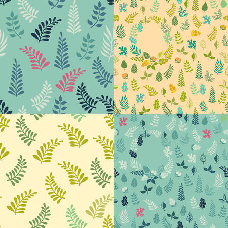 Set of 4 Seamless background patterns with wreaths elements. Vector