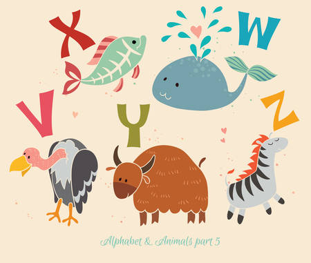 Set of letters from V to Z. The English alphabet and animals. Education for children Vector