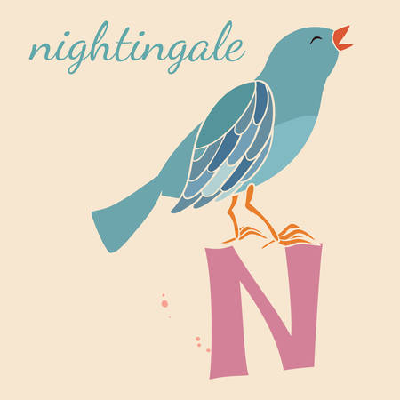 Animal & Animals. N for the nightingale Vector