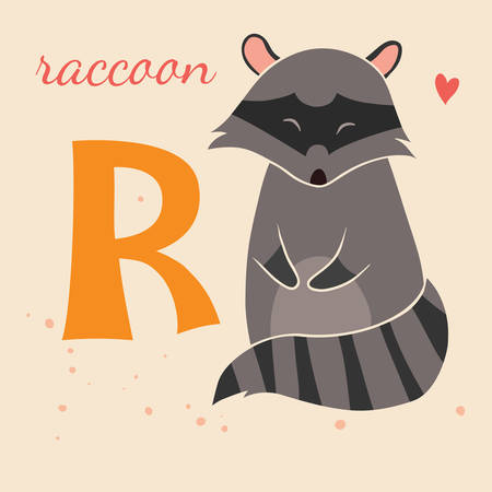 Animal & Animals. R for the raccoon Vector