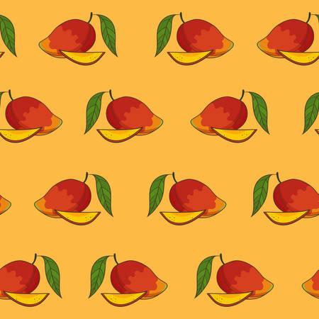 Mango pattern, vector Illustration. Exotic fruit. Hand-drawn style.