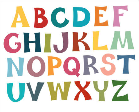alphabetical letters: The English alphabet multi colors. Draw.