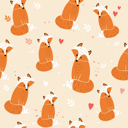 Seamless pattern with fox, Illustration 向量圖像
