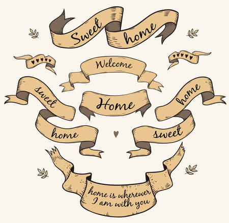 sweet home: set of antique ribbon scroll with text Sweet home and Welcome