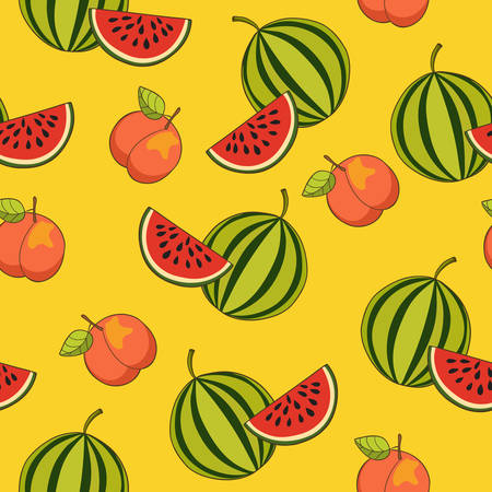 exotic fruit: Peach and watermelon pattern, Illustration. Exotic fruit. Hand-drawn style