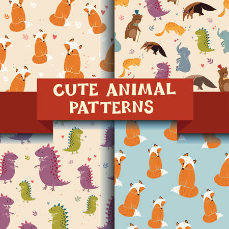 Set of 4 patterns with Cute Animals. Dinosaur, fox, cat and anteater! 4 pattern in one set, amazing! Vector