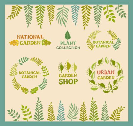 Set of vector botanical round leaf backgrounds.