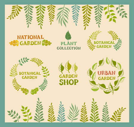 garden: Set of vector botanical round leaf backgrounds.