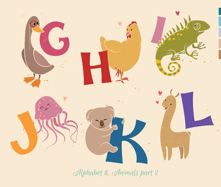 Set of letters from G to K. The English alphabet and animals. Education for children Vector