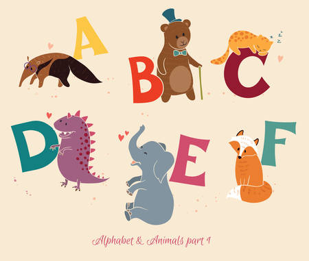 Alphabet&Animals, part1. Set of letters from A to F. The English alphabet and animals. Education for children Vector