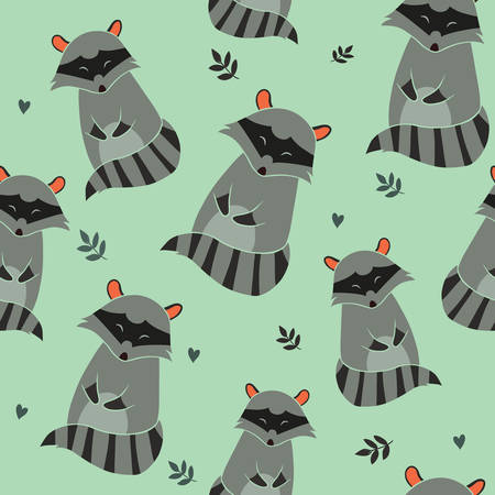 Raccoon Seamless pattern on blue background. Illustration