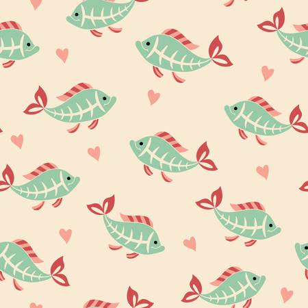 tetra: Х-ray tetra fish seamless pattern. Illustration