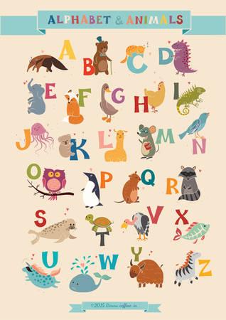 알파벳 및 동물의 집합입니다. 그림. 어린이, 유치원, 귀여운, 포스터에 대한 교육. 손으로 그린. 일러스트