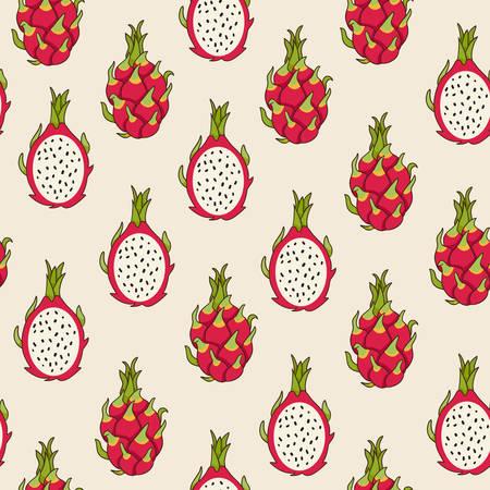 Dragon fruit pattern, vector Illustration. Exotic fruit. Hand-drawn style.
