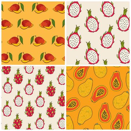 dragon fruit: Dragon fruit, papaya and mango pattern set, vector Illustration. Exotic fruit. Hand-drawn style