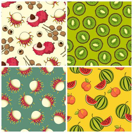 Fruit pattern set, vector Illustration. Exotic fruit. Hand-drawn style