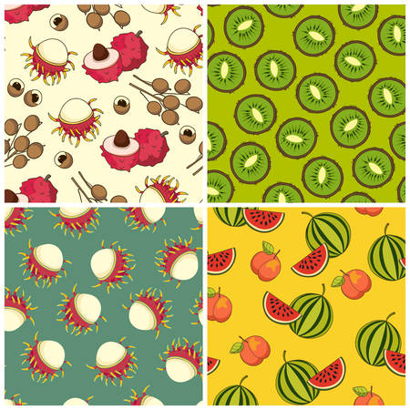 Fruit pattern set, vector Illustration. Exotic fruit. Hand-drawn style
