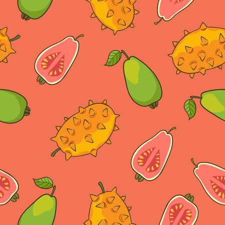 guava fruit: Horned melon and guava pattern, vector Illustration. Exotic fruit. Hand-drawn style Illustration