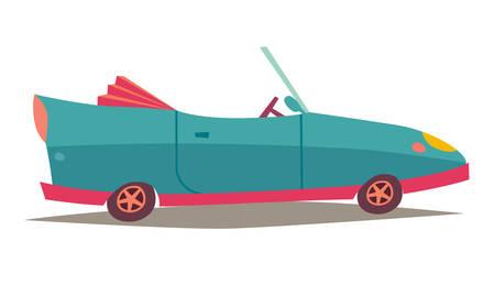 Сabriolet vector. Blauwe auto, transport voertuig. Modern cabriolet zijaanzicht. Sportwagen icoon. Cartoon stijl illustratie, geïsoleerd op een witte achtergrond Stock Illustratie