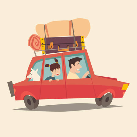 family holiday: Traveling by car. Father driving car. Happy family summer vacations. Tourism, cartoon character family. Family trip. Travel with dog, flat style vector illustration. Isolated on white background Illustration