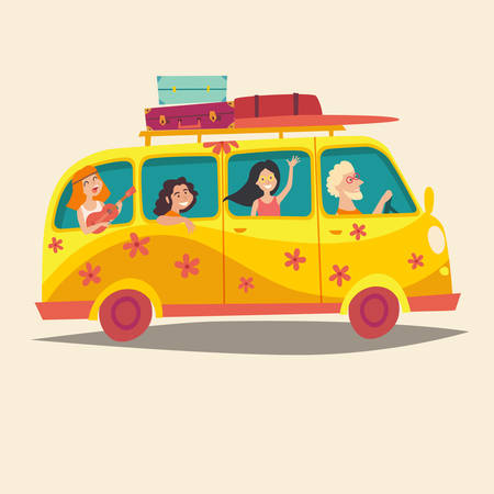 woodstock: Van with traveling happy people. Hippie on camper bus.Tourism concept, cartoon character young hippie. Travel by vintage bus. Woodstock lifestyle. Family holiday. Vector illustration