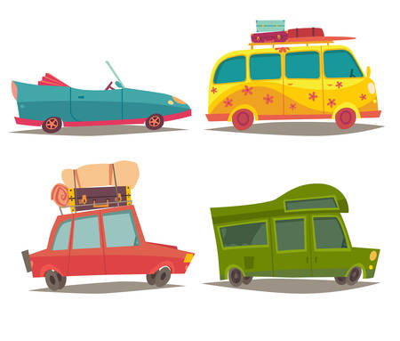 family van: Vehicle transport for travel vector set. Car for family weekend trip, Cabriolet, Motorhome and Hippie camper vanbus. Tourism, summer holiday.Cartoon style illustration, isolated on white background