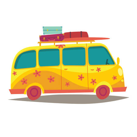 woodstock: Hippie camper van. Travel by vintage yellow bus. Woodstock lifestyle. Tourism, summer holiday. Cartoon style vector illustration, isolated on white background Illustration