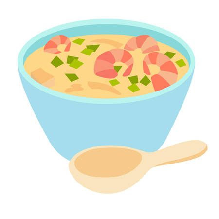 Tom Yam Kung spicy soupTom kha kai on ceramic bowl with spoonChicken and galangal in coconut milk soupThai food cartoon styleNational thai food soup with shrimp. Isolated vector, white background Illustration