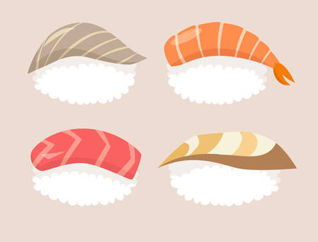 nori: Sushi set vector. Sushi with tuna and shrimp sushi. Sushi with salmon, red fish and nori sushi with acne fish. Sushi cartoon style icon. Sushi isolated on white background Shrimp sushi. Vector sushi Illustration