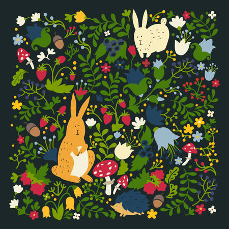 Cute animals on magic forest vector design. Cartoon rabbit and hedgehog illustrations for baby on dark background. Berries, mushrooms and leaf elements. Hand-drawn style, square composition Illustration
