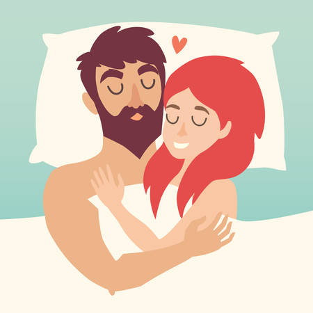 Man and woman couple at bed. Sleeping time vector illustration. People in love. Cartoon character romantic couple. Girl, boy icon. Honeymoon married people