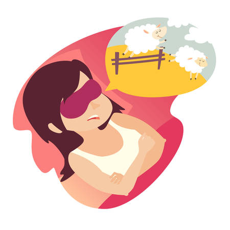 Girl with counting sheep. Stress, problem of sleep, insomnia concept. Cartoon woman in bad. Sheep jumping over the fence. Vector illustration on white background. Flat sticker. Insomnia woman icon