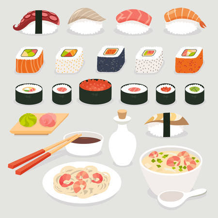 fried noodles: Sushi set. Sushi vector cartoon style.Japanese food objects set vector illustration.Sushi cartoon style icon.Soy sauce and sushi roll, Tom Yam soup and noodles with prawns.Isolated on white background