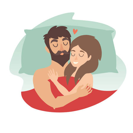 Man and woman couple at bed. Sleeping time vector illustration. People in love. Cartoon character romantic couple. Girl, boy icon. Honeymoon married people. Flat isolated sticker
