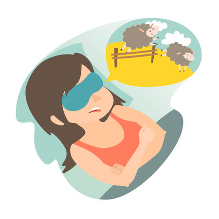 Girl with counting sheep. Stress, problem of sleep, insomnia concept. Cartoon woman in bad. Sheep jumping over the fence. Vector illustration on white background. Flat sticker.