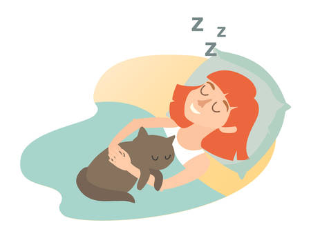 Sleeping girl with cat. Cartoon happy woman. Sweet dreams. Sleeping girl icon. Sleep at home, sleeping cat. Vector illustration on white background. Flat sticker Çizim