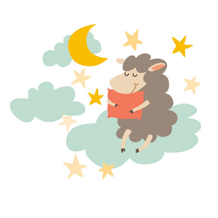 Sleeping sheep with pillow on night sky. Sweet dreams. Cartoon happy lamb,moon, star for baby. Vector illustration on white background. Flat sticker