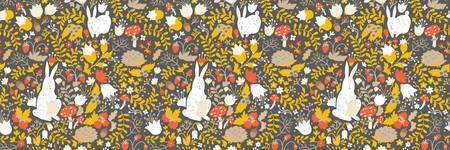 animales lindas en el patrón transparente bosque mágico. Conejo y ilustraciones de vectores de hedgehog para el bebé. Fondo para los niños, estilo dibujado a mano. encabezado del sitio. composición rectangular, bandera.