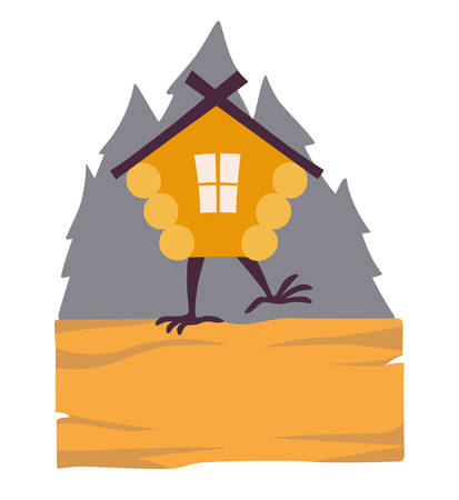 Hut in forest vector. Cartoon old house on chicken legs with window, baba yaga home. Fairy magic village is on the board. Symbol of fairytale forest, isolated on white background illustration Illustration
