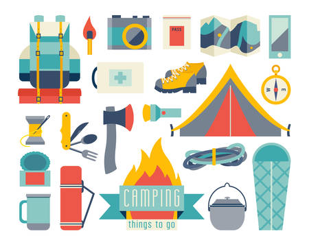 Camping icon vector set. Adventure hiking kit. Hiking and camping equipment. Tent camp backpack, first aid kit for camping. Fire, sleeping bag, pot cartoon. Ax, map, camera, canned food, flashlight icon. Camping vector illustration isolated on white backg 向量圖像