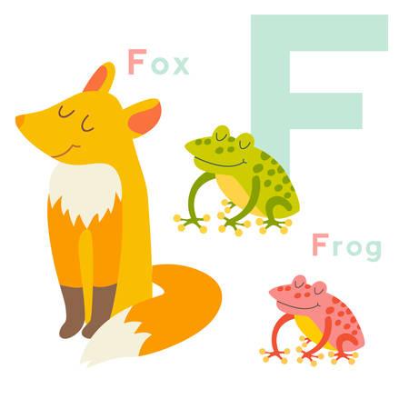 F letter animals set. English alphabet. Vector illustration, isolated on white background